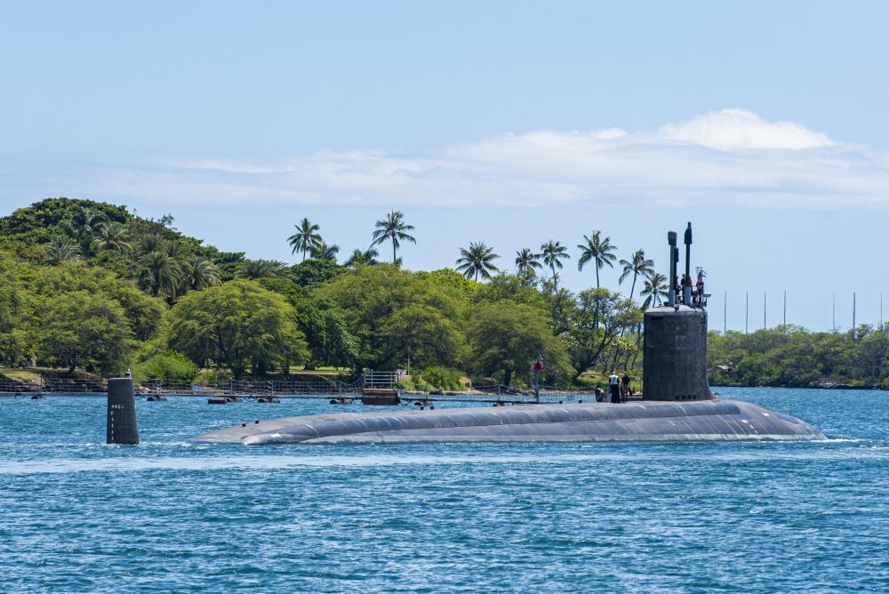 USS Missouri Submarine Departs Pearl Harbor